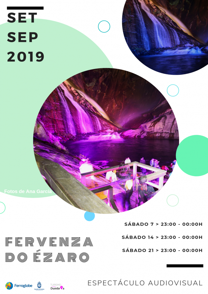 Audiovisual show at the Ézaro waterfall