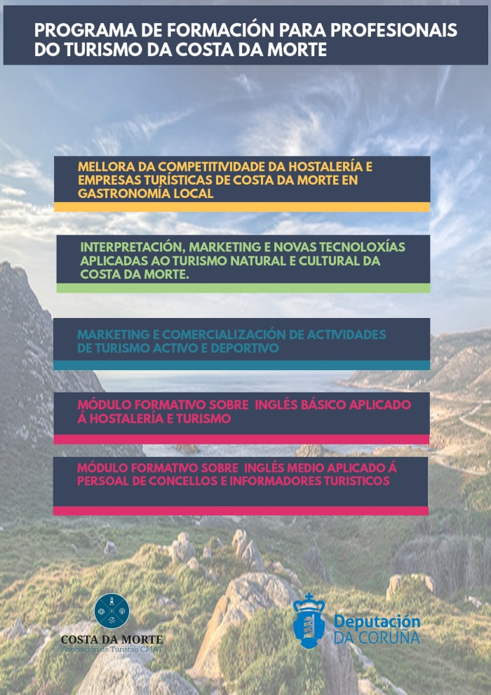 The deadline for the inscriptions in the courses of the program of improvement of the competitiveness of the tourist sector of Costa da Morte 2018 opens.